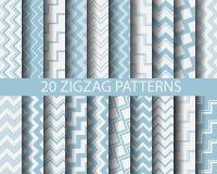 20 blauwe zigzagpatronen stock illustratie