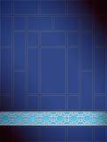 Blauwe zilver van het achtergrond het Chinese roosterpatroon Royalty-vrije Stock Foto's