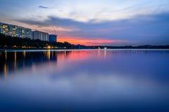 Blauwe zonsondergang royalty-vrije stock afbeelding