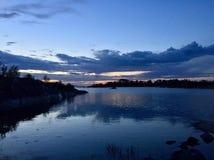Blauwe zonsondergang stock fotografie