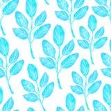 Blauwe zwart-wit ontwerp van het inkt het hand getrokken botanische naadloze patroon stock illustratie