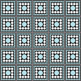 Blauwe, Zwart-witte Polka Dot Square Abstract Design Tile Patt Stock Foto