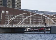 The Blauwehoofdbrug bridge Amsterdam The Netherlands. The Blauwehoofdbrug, bridge no. 163, is a steel arch bridge and is located in the Eastern Docklands of Stock Photography