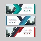 Blauwgroen rood driehoeks abstract collectief bedrijfsbannermalplaatje, horizontale het malplaatjevlakte reclame van de bedrijfsb vector illustratie