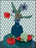 Blauwgroen rood stilleven met drie appelen royalty-vrije illustratie