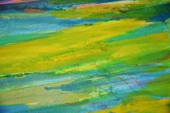 Blauwgroene gele modderige plonsen, vlekken, de creatieve achtergrond van de verfwaterverf Stock Afbeelding