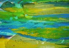 Blauwgroene modderige vlekken, de creatieve achtergrond van de verfwaterverf Royalty-vrije Stock Afbeelding