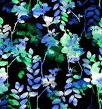 Blauwgroene waterverfbloemen Royalty-vrije Stock Afbeelding