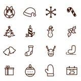 Blavk e ícones brancos do Natal do vetor ilustração royalty free