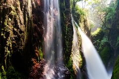 Blawan Waterfall Around Kawa Ijen Crater, Beautiful Waterfall hidden in the tropical jungle,East Java, Indonesia. Blawan Waterfall Around Kawa Ijen Crater Stock Photo