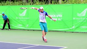 Blaz Kavcic of Slovenia in Wind Energy Holding Bangkok Open 2017 stock video footage
