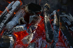 Blaze of bonfire wood fire flame spires in fireplace Royalty Free Stock Images