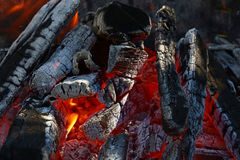 Blaze of bonfire wood fire flame spires in fireplace Stock Photography