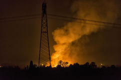 Blaze in the night. View of a blaze in the night Royalty Free Stock Images