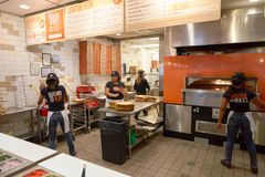 Blaze Pizza. CHICAGO, IL - CIRCA MARCH, 2016: inside Blaze Pizza restaurant. Blaze Pizza LLC is a Pasadena, California-based chain within the fast-casual dining Royalty Free Stock Images