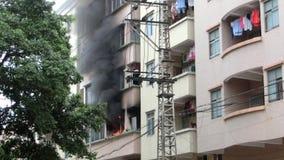 Blaze at a rental apartment stock footage