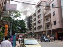 Blaze at a rental apartment. SHIJIE DONGGUAN;CHINA - September 22 a rental apartment got a blaze at  on September 22, 2014 in Dongguan;China Royalty Free Stock Photos