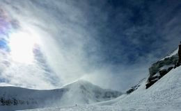 Blazende Sneeuw Levendige Hemel stock foto