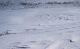 Blazende sneeuw op een sneeuw behandeld gebied in de winter stock afbeeldingen