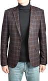 Blazer de lã do terno dos homens quadriculado, em combinação com calças de brim fotos de stock royalty free