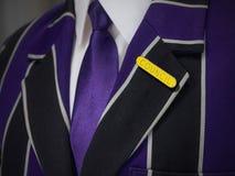 Blazer dos meninos de escola com crachá de escola do conselho Fotografia de Stock Royalty Free