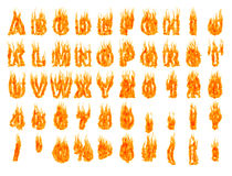 Blazing Alphabet 1. Burning alphabet letters and numbers isolated silhouettes on white background. Rendered 3D illustration Royalty Free Stock Photo