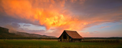 Blazing Barn in Northern California Stock Photography