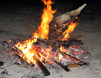 Blazing Bonfire and Glowing Embers Royalty Free Stock Photo