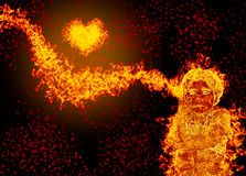 Blazing child and heart. Abstract fire blazing child and heart isolated on black background Stock Image