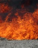 Blazing Fire. Fire blazing with desaturated grass in the foreground stock image