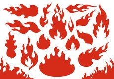 Blazing fire flames. Flaming red wildfire fiery or racing flame. Blazing hell inferno fire icons illustration set royalty free illustration