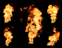 Blazing fire raging flame of burning gas or oil collection. Blazing fire raging flame of burning gas or oil photo set isolated on black background royalty free stock photo
