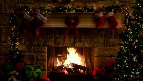 The blazing fireplace near the christmas tree in the room full of festive atmosphere