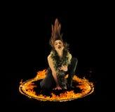 Blazing flames on black background Royalty Free Stock Photo