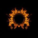 Blazing flames circle on black background Royalty Free Stock Image