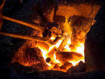 Blazing furnace at the blacksmith's Stock Image