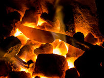Blazing furnace at the blacksmith's Royalty Free Stock Photos