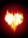 Blazing heart. Fiery heart on a red background Royalty Free Stock Photo