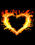 Blazing heart. On the black background Royalty Free Stock Photos