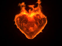 Blazing heart. Illustration of flaming heart on black background Royalty Free Stock Photos