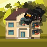 Blazing house burning with fire. Vector illustration Stock Photos