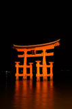 Blazing Miyajima Torii At Night Stock Photography