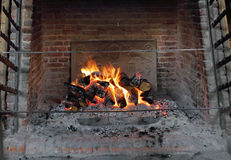 Blazing open Fire and hearth Royalty Free Stock Photography
