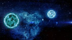 Blazing planet and Moon Moving Digital simulation showing a closeup of the approaching moving towards the blazing Planet. stock illustration