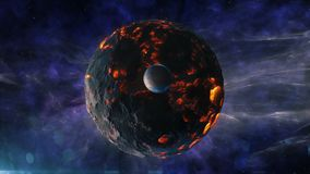 The blazing planet with a sputnik amid the beautiful universe. HD The blazing planet with a sputnik amid the beautiful universe stock footage