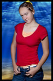 Teenage girl in red shirt  Royalty Free Stock Photos