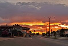 Blazing red, orange Sunset in the old Gold Mining Town of Cue, Western Australia. stock photography
