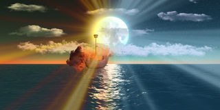Blazing sailing ship over the sea at night and sunset. From imagination Royalty Free Stock Image