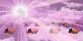 Blazing ships with pink sky with blurs Royalty Free Stock Photos