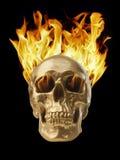 Blazing Skull. Golden skull with blazing fire stock photos